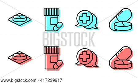 Set Line Dialogue With The Doctor, Medicine Pill Or Tablet, Medicine Bottle And Pills And Medicine P