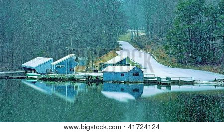 Boat dock at Fall Creek Falls State Park during a snowfall