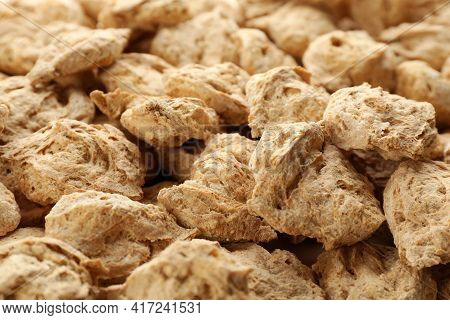 Dehydrated Soy Meat Chunks As Background, Closeup