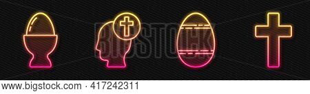Set Line Easter Egg, Easter Egg On A Stand, Human Head With Christian Cross And Christian Cross. Glo