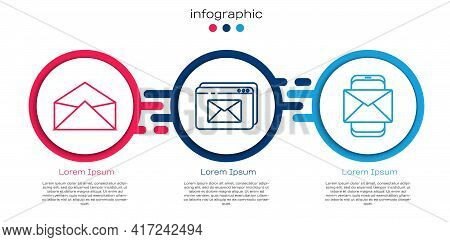 Set Line Envelope, Website And Envelope And Mobile And Envelope. Business Infographic Template. Vect