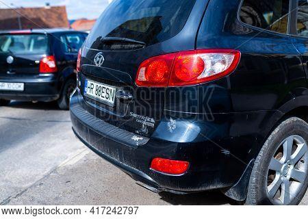 Miercurea Ciuc, Romania- 17 April 2021: Back View Of A Parking Hyundai Santa Fe Car.