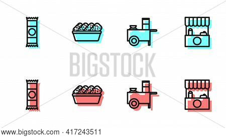 Set Line Fast Street Food Cart, Chocolate Bar, Chicken Nuggets In Box And Street Stall With Awning I