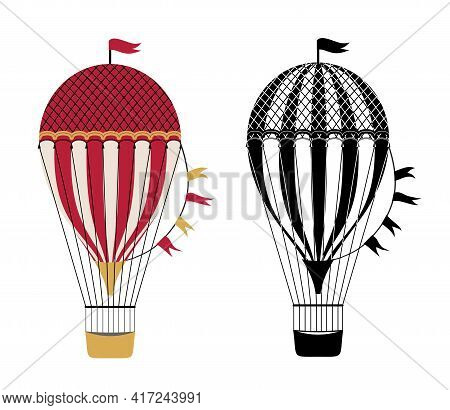 Air Balloon Icon. Air Transport Symbol, Hot Air Balloon Vector Sign On White Background, Aerostat Tr