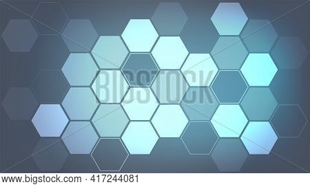 Abstract Hexagon Blue Background. Hexagon Light Digital Technology Concept. Vector Illustration