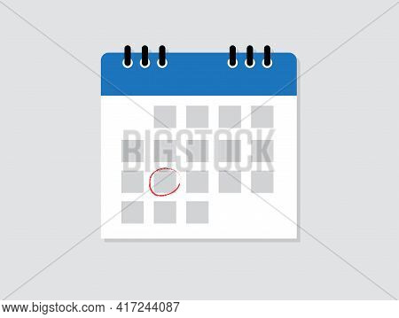 Calendar Icon. Mark The Date. Schedule Icon Isolated On Blue Background. Flat Design. Vector Illustr
