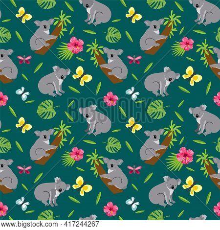 Seamless Pattern With Cute Koala. Koalas Seamless Background. Australian Animal Seamless Background.