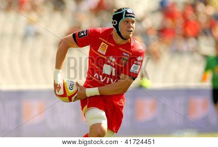BARCELONA - SEPT, 15: Luke Narraway of USAP Perpignan in action during the French rugby union league match USAP Perpignan vs Stade Toulousain at the Olympic Stadium in Barcelona, on September 15, 2012