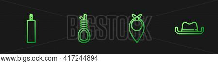 Set Line Cowboy Bandana, Dynamite Bomb, Gallows Rope Loop Hanging And Western Cowboy Hat. Gradient C