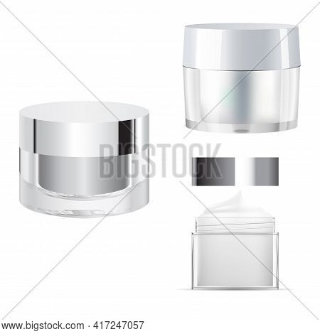 Cosmetic Cream Jar Mcokup. Glass Creme Packaging Blank. Clear 3d Template For Face Powder. Transpare