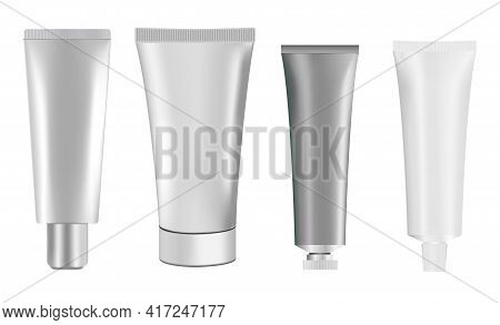 Silver Cosmetic Tube Mockup. Squeeze Cream Package. White Plastic Toothpaste Tube Template. Realisti