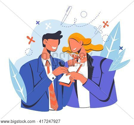 Business People Signing A Business Contract Or Partnership Agreement Document, Flat Vector Illustrat