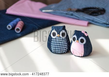 Hand Made Owls. Craft Tools And Materials On The Table.