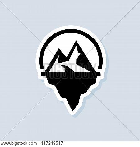Iceberg Geometric Sticker. Iceberg Icon. Ui Icon. Snow Mountain In The Ocean. Abstract Mountain Ice