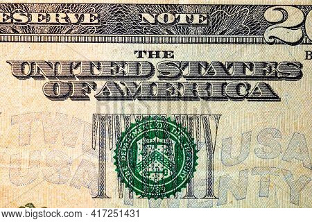 Selective Focus On Detail Of Usd Banknotes. Close Up Macro Detail Of United States Dollars Banknotes