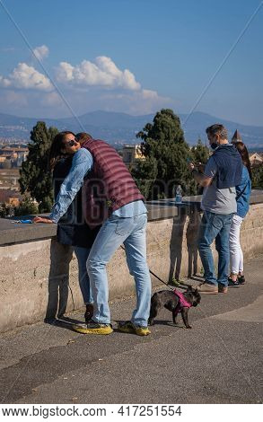 People With Dog On Observation Deck In Rome, Italy