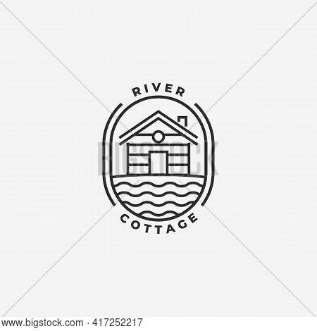 Minimal Emblem Cottage Cabins Logo Line Art Lake River Bay Hut Lodge Vector Illustration Design