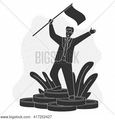 Successful Businessman Standing On Coins Stack.businessman With A Flag In Suit Standing At Cash Coin