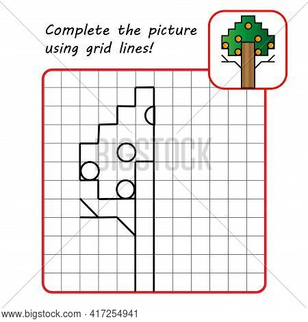 Educational Game For Kids. Simple Exercise. Tree. Drawing Using Grid. Symmetrical Drawing. Vector Il