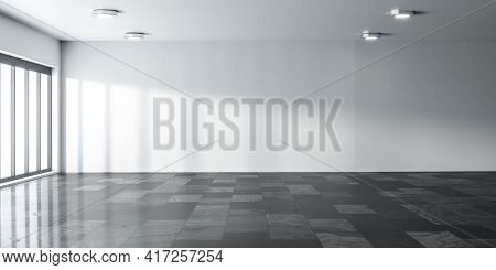 Empty Big Room Modern Office Building Interior With White Walls, Sunlight And Marble Floor 3d Render