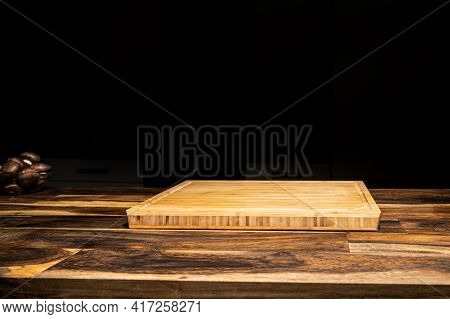 Empty Wooden Tray Plate Wooden Table With Dark Isolate Background Textspace