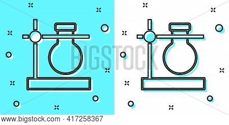 Black Line Glass Test Tube Flask On Stand Icon Isolated On Green And White Background. Laboratory Eq