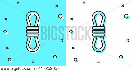 Black Line Climber Rope Icon Isolated On Green And White Background. Extreme Sport. Sport Equipment.