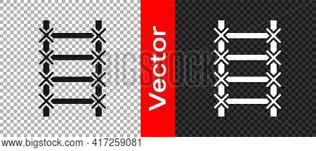 Black Fire Escape Icon Isolated On Transparent Background. Pompier Ladder. Fireman Scaling Ladder Wi