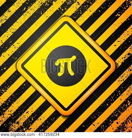 Black Pi Symbol Icon Isolated On Yellow Background. Warning Sign. Vector