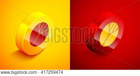Isometric Pie Chart Infographic Icon Isolated On Orange And Red Background. Diagram Chart Sign. Circ