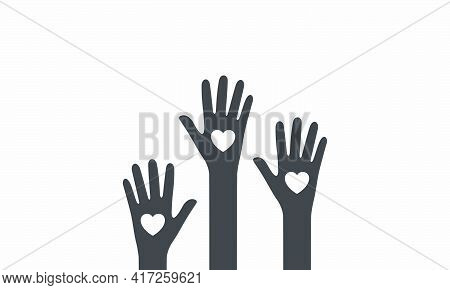 Heart Hand Raised Icon Vector On White Background.