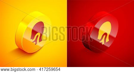 Isometric Sore Throat Icon Isolated On Orange And Red Background. Pain In Throat. Flu, Grippe, Influ
