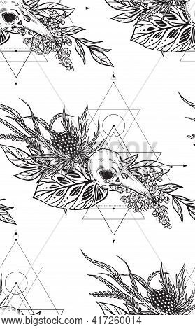 Vector Beautiful Seamless Pattern. Endless Background With Hand Drawn Bird Skulls