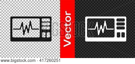 Black Computer Monitor With Cardiogram Icon Isolated On Transparent Background. Monitoring Icon. Ecg