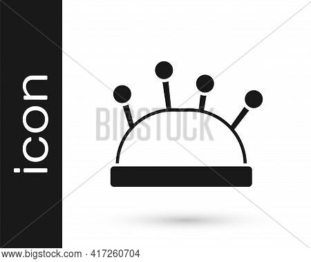 Black Needle Bed And Needles Icon Isolated On White Background. Handmade And Sewing Theme. Vector
