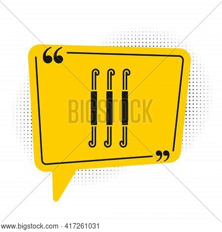 Black Crochet Hook Icon Isolated On White Background. Knitting Hook. Yellow Speech Bubble Symbol. Ve