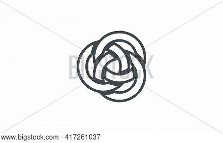 Circle Interlocking Vector Illustration On White Background. Creative Icon.