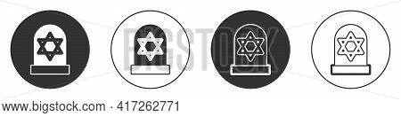 Black Tombstone With Star Of David Icon Isolated On White Background. Jewish Grave Stone. Gravestone