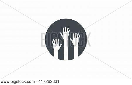 Hand Raise On Circle. Creative Icon Vector Illustration.