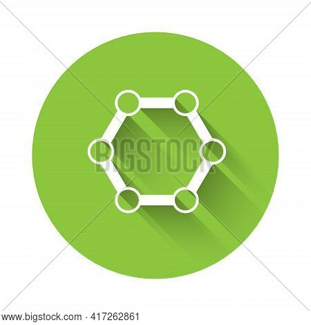 White Molecule Icon Isolated With Long Shadow. Structure Of Molecules In Chemistry, Science Teachers