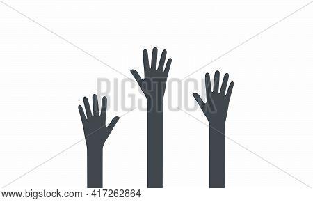 Hand Raise Icon. Vector Illustration. Isolated On White Background.