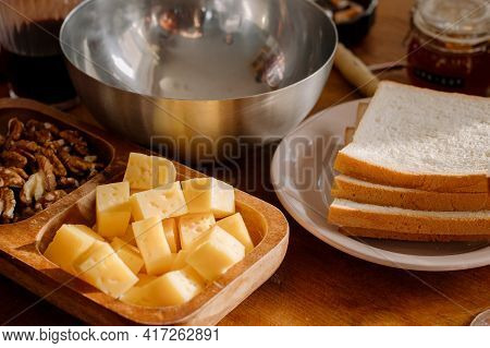 Cheese And Bread Tasty And Delicious Cheese Cubes Fresh And Healthy Food Yellow Cheese Food Lunch Di