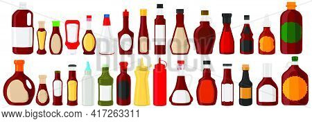 Illustration On Theme Kit Varied Glass Bottles Filled Liquid Sauce Barbecue. Bottles Consisting From