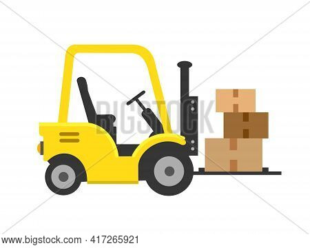 Forklift Icon. Forklift, Pallet With Folded Boxes, Cargo. Cargo Delivery, Delivery, Transportation.