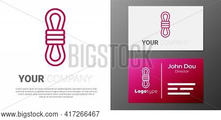 Logotype Line Climber Rope Icon Isolated On White Background. Extreme Sport. Sport Equipment. Logo D