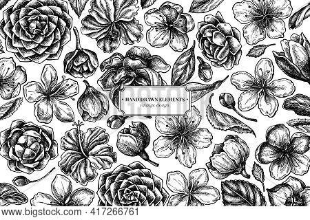 Floral Design With Black And White Hibiscus, Plum Flowers, Peach Flowers, Sakura Flowers, Magnolia F