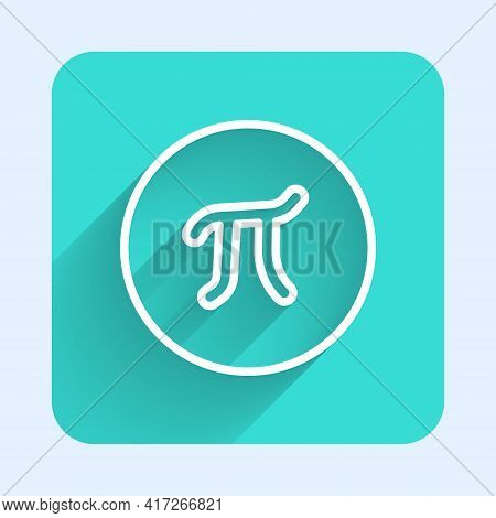 White Line Pi Symbol Icon Isolated With Long Shadow. Green Square Button. Vector