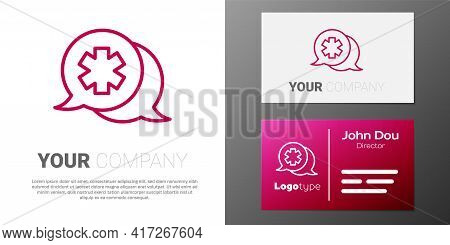 Logotype Line Dialogue With The Doctor Icon Isolated On White Background. Doctor And Patient Dialog.
