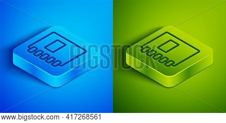 Isometric Line Notebook Icon Isolated On Blue And Green Background. Spiral Notepad Icon. School Note