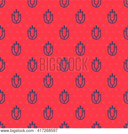 Blue Line Magnet Icon Isolated Seamless Pattern On Red Background. Horseshoe Magnet, Magnetism, Magn